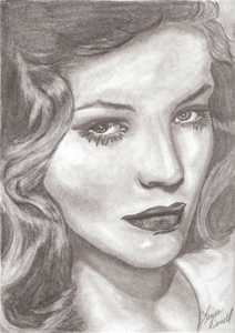 Lauren Bacall in pencil
