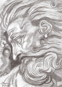 A Pencil Drawing  - from The Creation of Adam